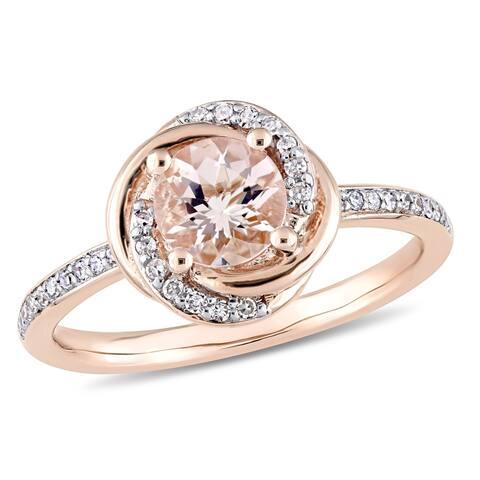 Miadora 10k Rose Gold Morganite and 1/6ct TDW Diamond Swirl Halo Ring