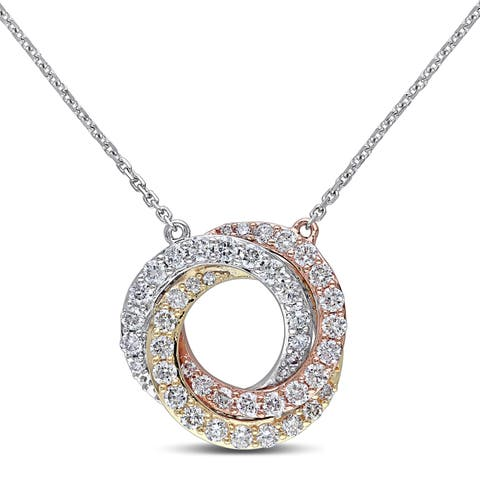 Miadora 14k 3-Tone White Yellow and Rose Gold 1/2ct TDW Diamond Swirl Necklace