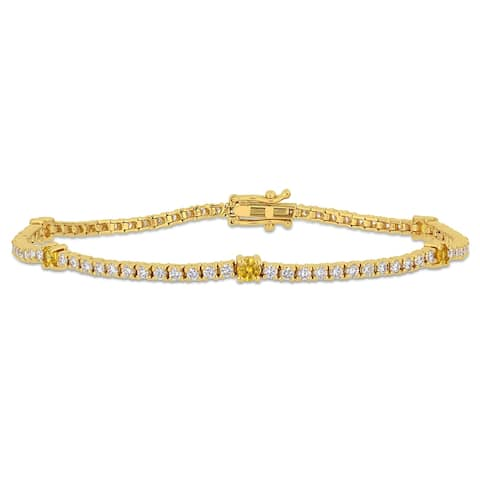Miadora 14k Yellow Gold Yellow Sapphire and 1 3/4ct TDW Diamond Tennis Bracelet
