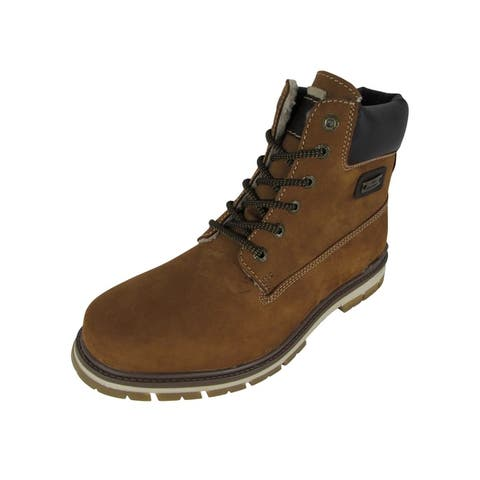 AM Shoes Mens Casual Lace Up Work Boot Shoes Brown