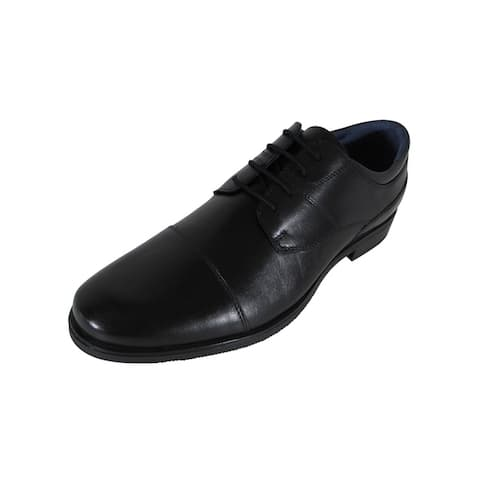 AM Shoes Mens Cap Toe Oxford Lace Up Shoes Black