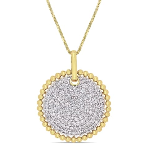 Miadora 14k Yellow Gold 1ct TDW Diamond Medallion Necklace