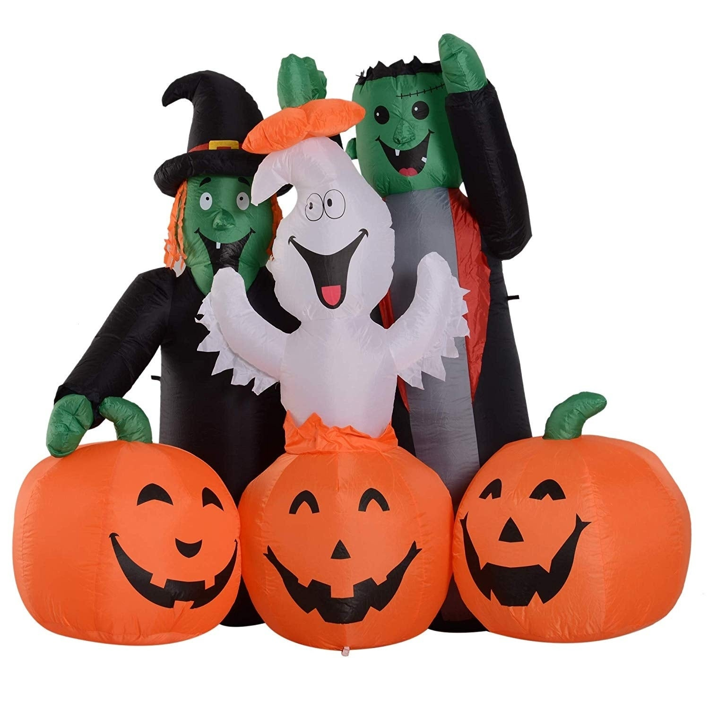 Shop Black Friday Deals On Homcom 5 Led Outdoor Halloween Inflatable Decoration Monster Pumpkin Party Overstock 24015363