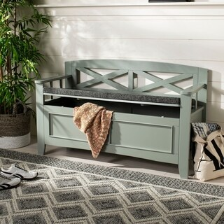 "Safavieh Anisa Storage Bench- Grey / Dark Grey - 50"" x 18"" x 30"""