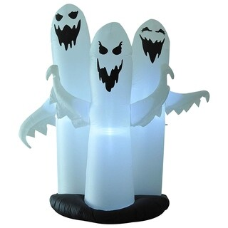 HOMCOM 6' Tall Halloween Inflatable 3 White Ghost Pre-lit Yard Decoration with 8 LED Lights and Fan