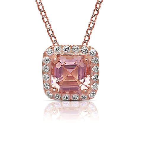 Curata Rose-gold-plated Sterling Silver 18-Inch Princess Simulated Peach Morganite Cubic Zirconia Halo Necklace (9mm)