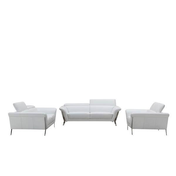 Shop 3-Piece Divani Casa Ronen Modern White Leather Sofa Set ...