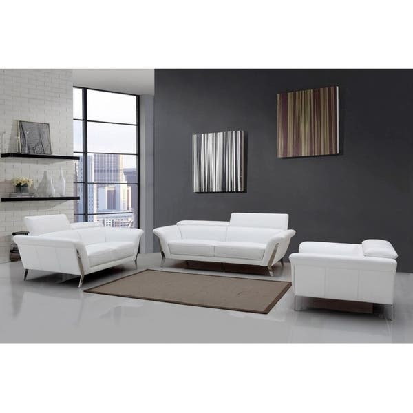 Astounding Shop 3 Piece Divani Casa Ronen Modern White Leather Sofa Set Ocoug Best Dining Table And Chair Ideas Images Ocougorg