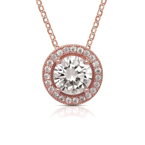 Curata Rose-gold-plated Sterling Silver 18-Inch Large Pave Cubic Zirconia Halo Circle Necklace (10mm)