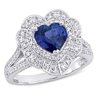 Miadora 14k White Gold Blue Sapphire and 3/4ct TDW Diamond Heart Halo Split Shank Ring