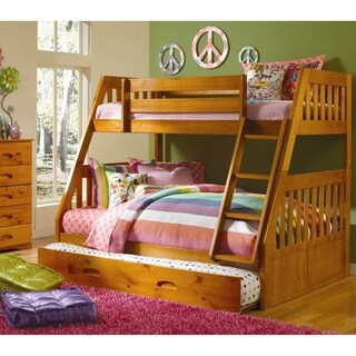 American Furniture Classics Solid Pine Staircase Twin/Full Bunk Bed with Roll Out Twin Trundle Bed in Honey.