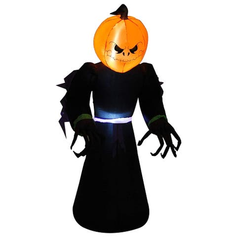 HomCom 7' Tall Inflatable Halloween Pumpkin Reaper Light Up Yard Decoration with LED Lights and Fan