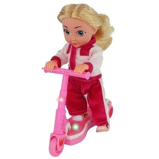 "11"" Tall Scooter Riding Battery Operated Girl Doll On A Track Suit, Forward Motion, It Plays Music & Scooter Lights Up!"
