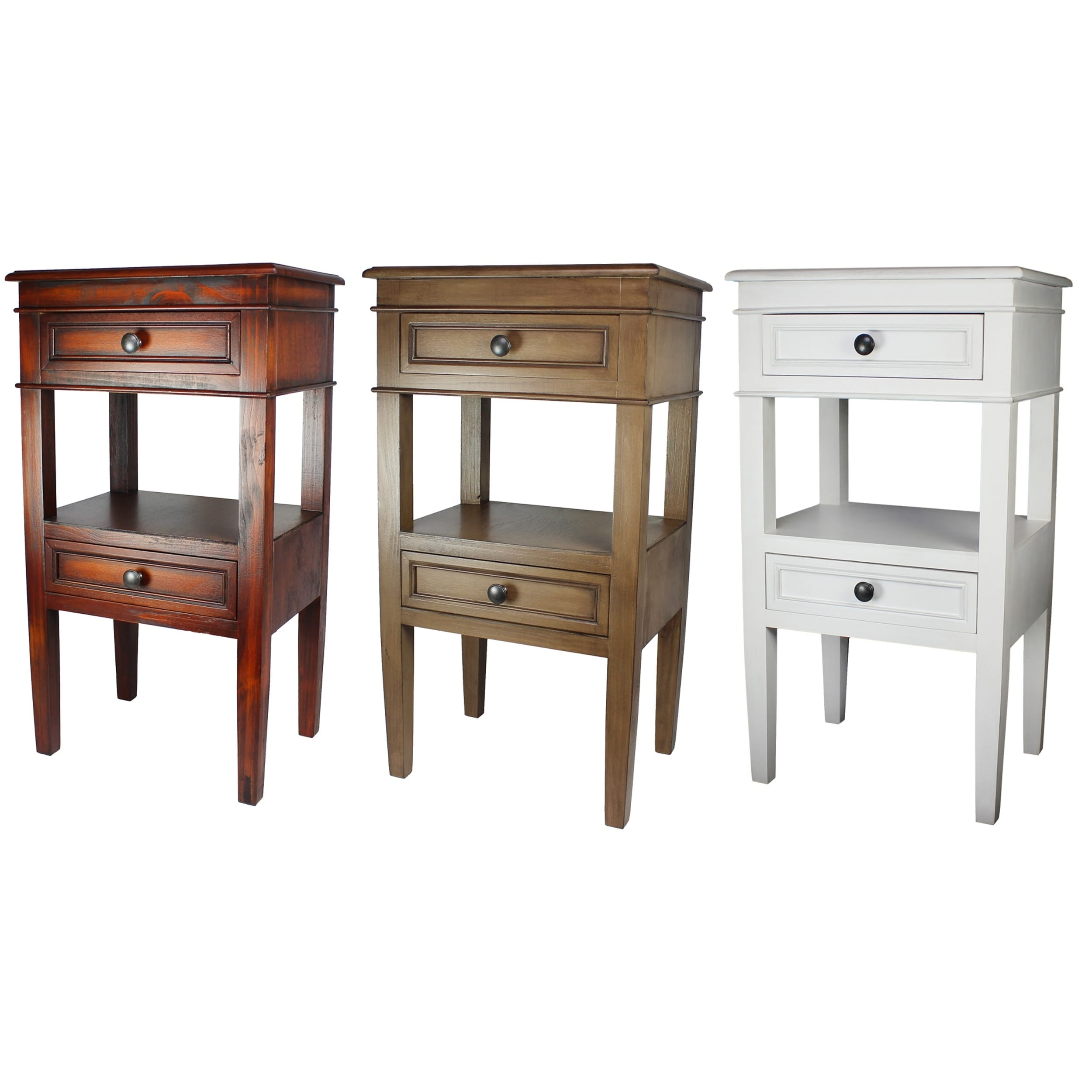 Urban Designs 3 Drawer Solid Wood Night Stand Antiqued White