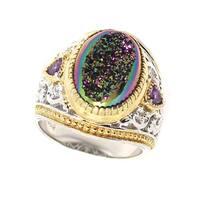 Michael Valitutti Palladium Silver Oval Druzy, Amethyst & White Sapphire Ring