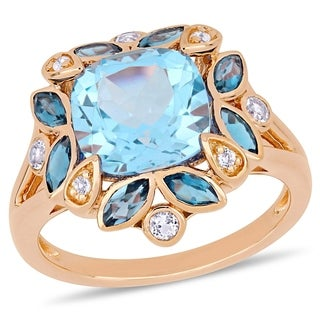 Miadora Rose Plated Sterling Silver Sky & London Blue Topaz with White Topaz Floral Halo Ring