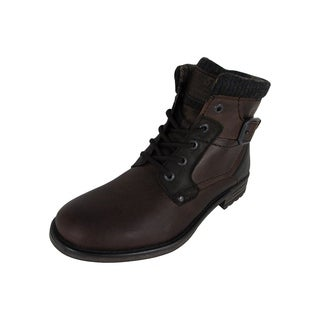 AM Shoes Mens Leather Plain Toe Lace Up Boot Shoes, Dark Brown