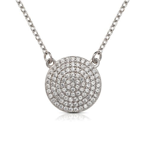 Curata 925 Sterling Silver 16-Inch Large Pave Cubic Zirconia Circle Disc Necklace (14mm) (2-inch extender)