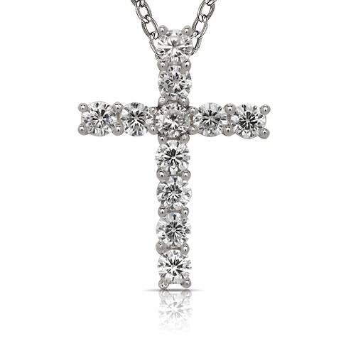 Curata 925 Sterling Silver 18-Inch Round Cubic Zirconia Elegant Cross Necklace (18mmx22mm)