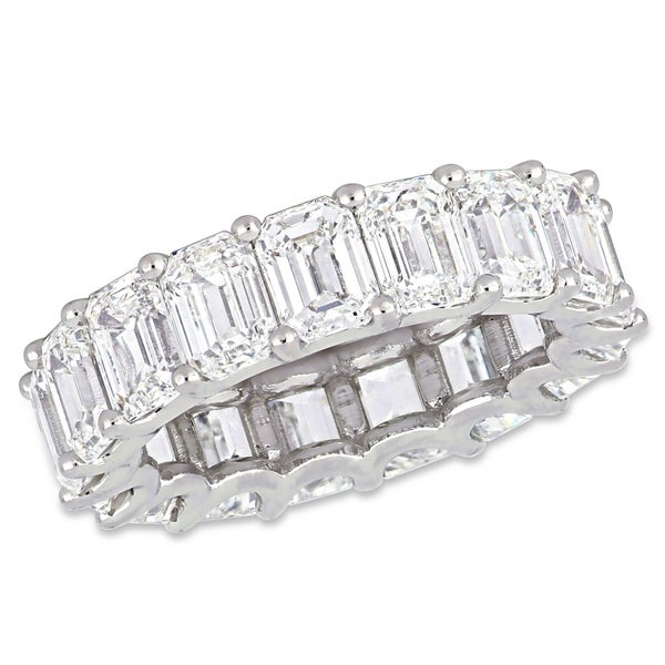 Miadora 18k White Gold 8 3/8ct TDW Emerald-Cut Diamond Full-Eternity Band