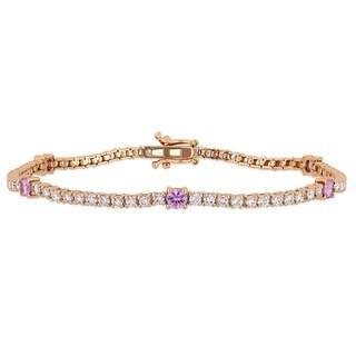 Miadora 14k Rose Gold Pink Sapphire and 2 1/4ct TDW Diamond Tennis Bracelet