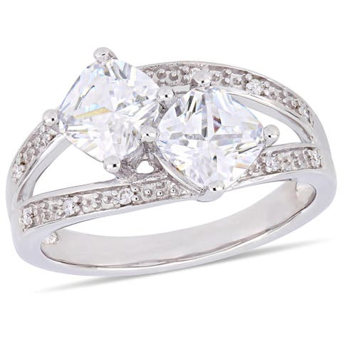 Miadora Sterling Silver Cubic Zirconia & Diamond Accent 2-Stone Split Shank Ring
