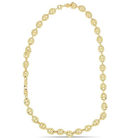 Miadora 18k Yellow Gold Mariner Link Ball Necklace