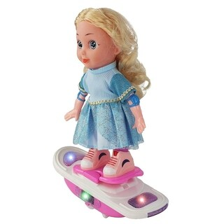 """Battery Operated 11"""" Lean Forward Left & Right Action Hover Board Toy Doll, Rides Board, Board Lights Up and it Plays Music!"""