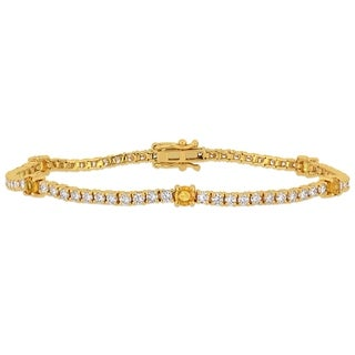 Miadora 14k Yellow Gold Yellow Sapphire and 2 1/4ct TDW Diamond Tennis Bracelet