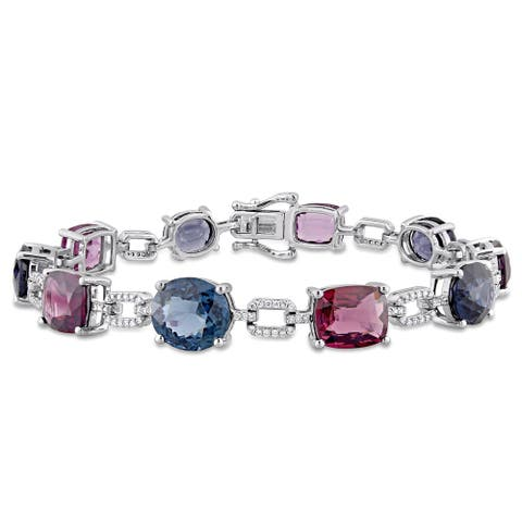 Miadora 14k White Gold 26ct TGW Multi-Gemstone and 1/2ct TDW Diamond Tennis Bracelet