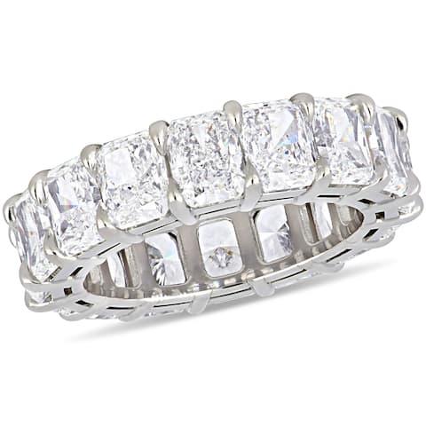 Miadora 18k White Gold 11 1/4ct TDW Certified Radiant-Cut Diamond Full-Eternity Band (GIA)
