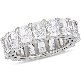 Miadora 18k White Gold 11 1/4ct TDW Certified Radiant-Cut Diamond Full-Eternity Band (GIA)