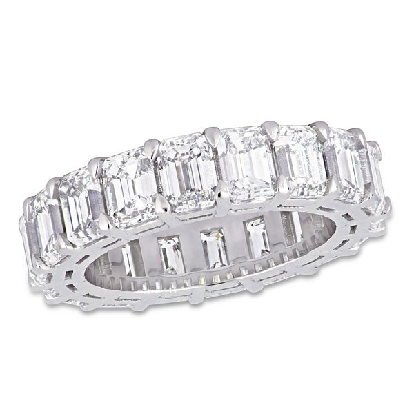 Miadora 18k White Gold 8 1/3ct TDW Emerald-Cut Diamond Full-Eternity Band