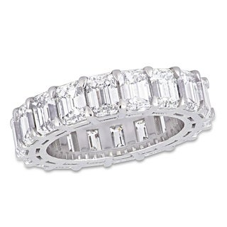 Miadora 18k White Gold 8 1/3ct TDW Emerald-Cut Diamond Full-Eternity Band