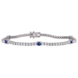 Miadora 14k White Gold Blue Sapphire And 1 3 4ct TDW Diamond Tennis Bracelet