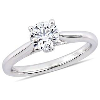 Miadora 18k White Gold 1/2ct TDW Certified Diamond Engagement Ring (GIA)