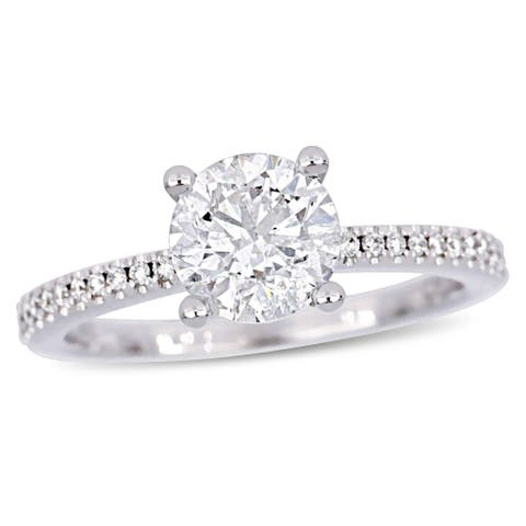 Miadora 14k White Gold 1 5/8ct TDW Diamond Engagement Ring