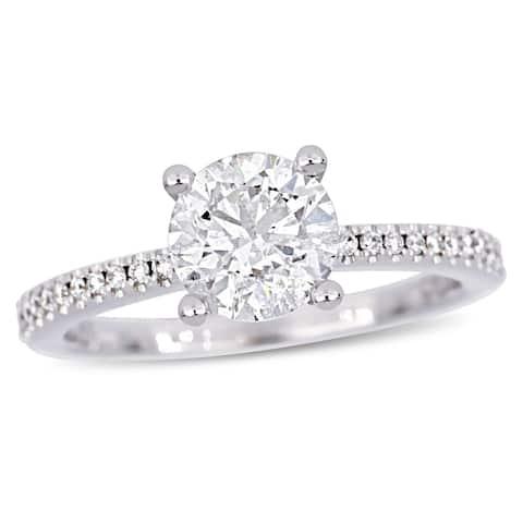 Miadora 14k White Gold 1 5/8ct TDW Diamond Engagement Ring