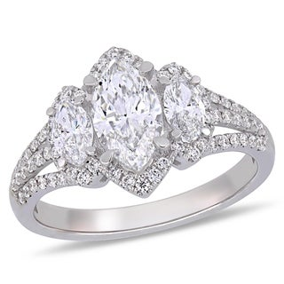 Miadora 14k White Gold 1-4/5ct TDW Certified Diamond Engagement Ring (GIA)