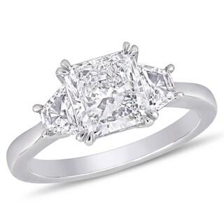 Miadora 18k White Gold 2 1/2ct TDW Certified Diamond 3-Stone Engagement Ring (GIA)