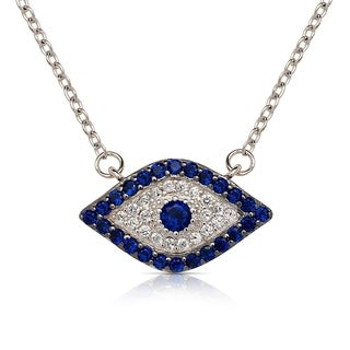 Curata 925 Sterling Silver 16-Inch Simulated Sapphire Cubic Zirconia Evil Eye Attached Necklace (20mmx12mm) (2-inch extender)