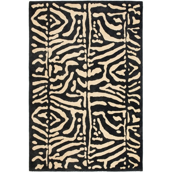 """Wild Leopard Runner Rug Black//Gold 2/'3/"""" x 8/'"""