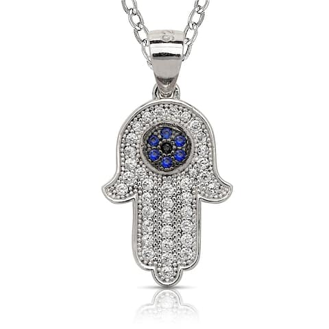 Curata 925 Sterling Silver 18-Inch Simulated Sapphire Cubic Zirconia Hamsa Hand of God Necklace (12mmx22mm)