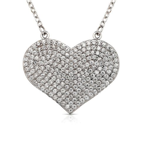 Curata 925 Sterling Silver 16-Inch Large Pave Cubic Zirconia Heart Disc Necklace (24mmx20mm) (2-inch extender)