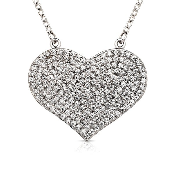 6ac78e4d177 Shop Curata 925 Sterling Silver 16-Inch Large Pave Cubic Zirconia Heart  Disc Necklace (24mmx20mm) (2-inch extender) - On Sale - Free Shipping Today  ...