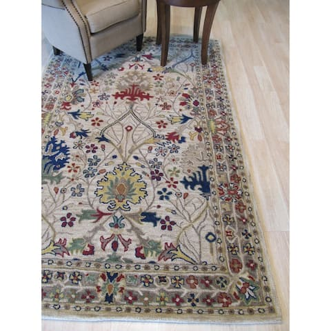 """Hand-tufted Wool Ivory Traditional Oriental Morris Rug - 7'9"""" x 9'9"""""""