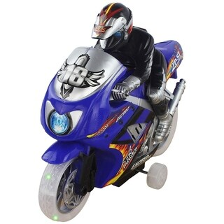 8'' Tall Battery Operated Friction Powered Motorcycle Speed Toy Motorbike