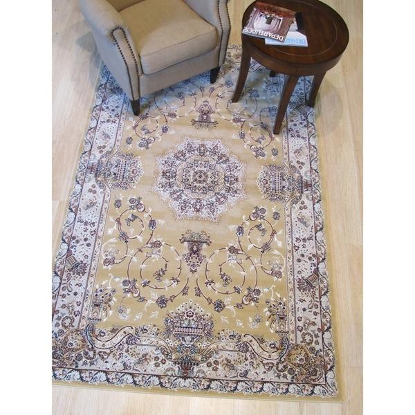 "Gold Traditional Oriental Tabriz Rug - 4'11"" x 7'10"""