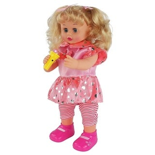 """Pretend Play 15.5"""" Tall Girl Doll with Cute Dress and Light Up Microphone, Dancing & Singing Action!"""