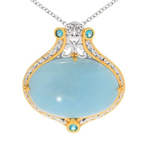 Gems en Vogue Palladium Silver Aquamarine & Paraiba Topaz Pendant
